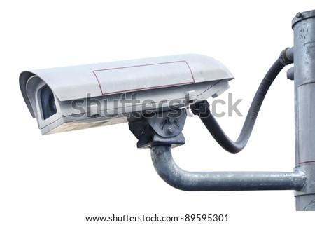 Security cctv camera isolated - stock photo