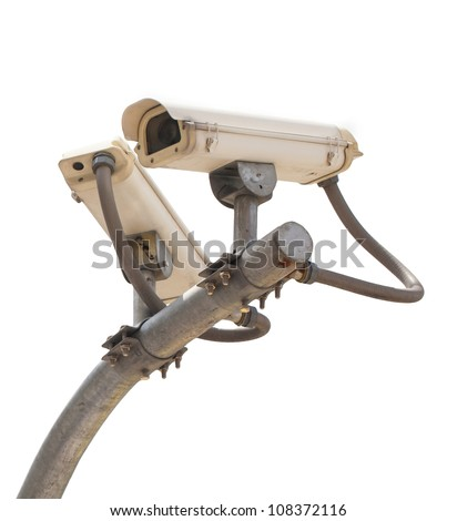 Security cctv cameras isolate - stock photo