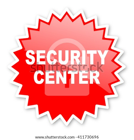 security center red tag, sticker, label, star, stamp, banner, advertising, badge, emblem, web icon - stock photo