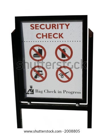 Security check sign with list of prohibited items - stock photo