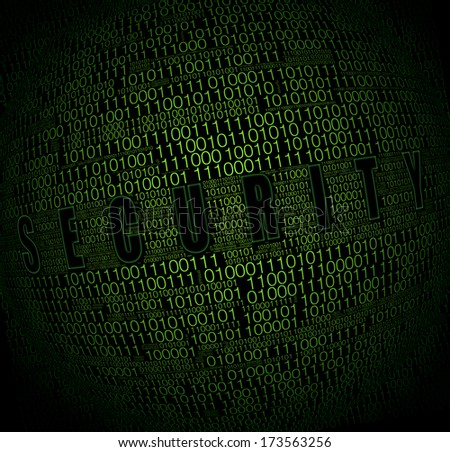 Security concept. Binary code on black background - stock photo
