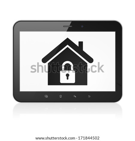 Security concept: black tablet pc computer with Home icon on display. Modern portable touch pad on White background, 3d render - stock photo