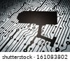 Security concept: circuit board with  Cctv Camera icon, 3d render - stock photo