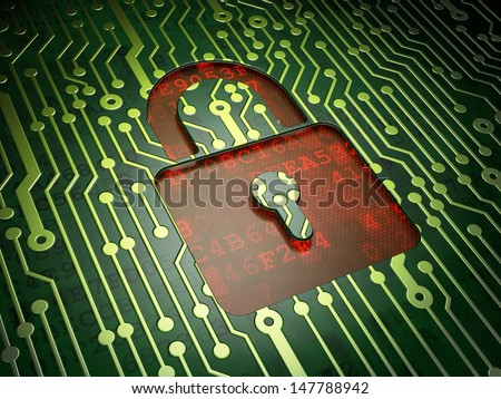 Security concept: circuit board with Closed Padlock icon, 3d render