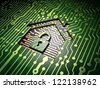 Security concept: circuit board with home icon, 3d render - stock photo