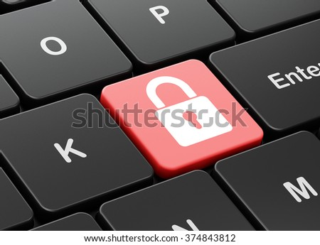 Security concept: Closed Padlock on computer keyboard background - stock photo