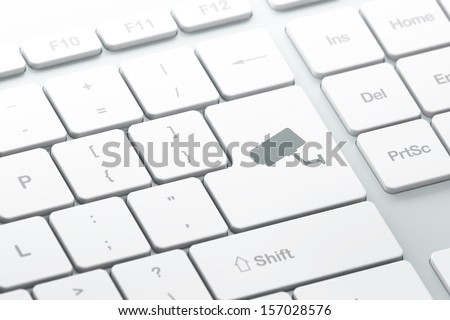 Security concept: enter button with Cctv Camera on computer keyboard background, 3d render, selected focus