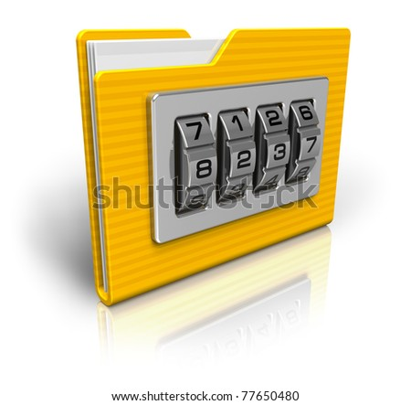 Security concept: file folder with combination lock isolated on white background - stock photo