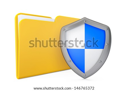 Security Concept. Folder Icon with Shield on a white background - stock photo