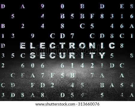 Security concept: Glowing text Electronic Security in grunge dark room with Dirty Floor, black background with Hexadecimal Code