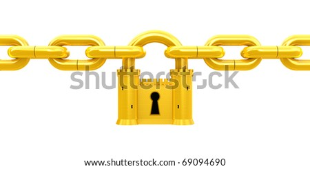 Security concept. Golden Padlock as fortress and chain isolated on white - stock photo