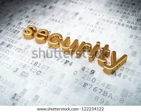 Security concept: golden security on digital background, 3d render