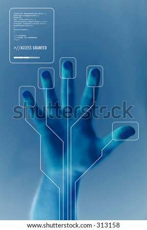 Security Concept: Hand being scanned before entry - stock photo