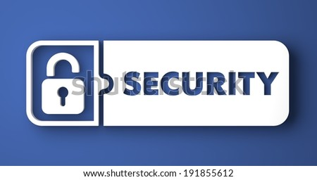 Security Concept in Flat Design with Long Shadows on Blue Background.