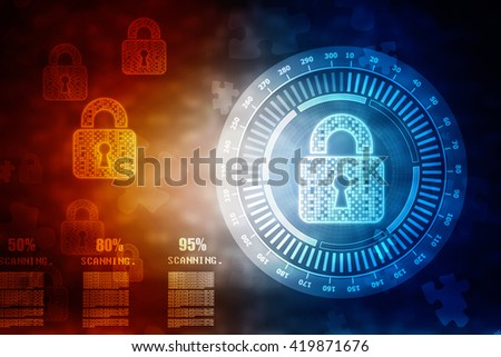 Security concept: Lock on digital screen, contrast, - stock photo