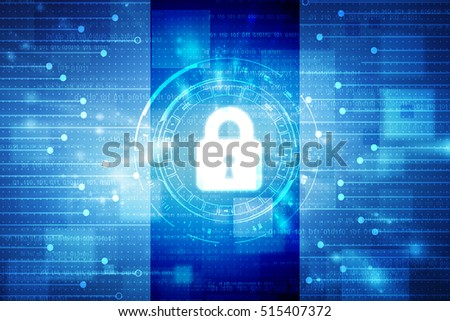 Security concept: Lock on digital screen, contrast, 2d illustration