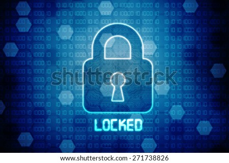 Security concept: Lock on digital screen, contrast, 3d render