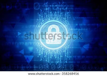 Security concept: Lock on digital screen, contrast, 3d render - stock photo