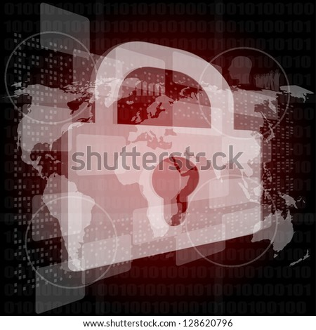 Security concept: Lock on digital screen, contrast, raster - stock photo