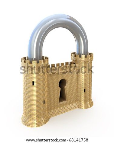 Security concept. Padlock as fortress isolated on white - stock photo