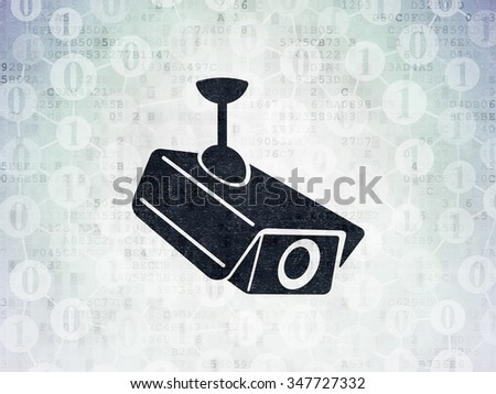 Security concept: Painted black Cctv Camera icon on Digital Paper background with Scheme Of Binary Code - stock photo