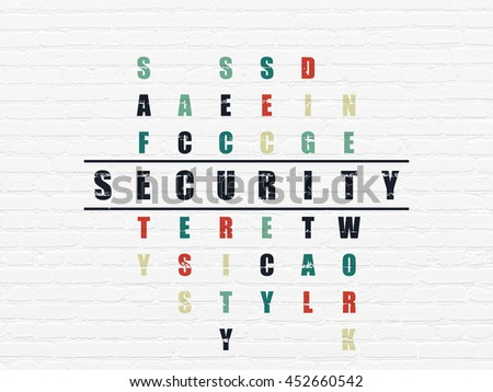 Security concept: Painted black word Security in solving Crossword Puzzle