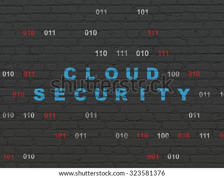 Security concept: Painted blue text Cloud Security on Black Brick wall background with Binary Code