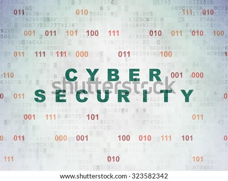 Security concept: Painted green text Cyber Security on Digital Paper background with Binary Code - stock photo