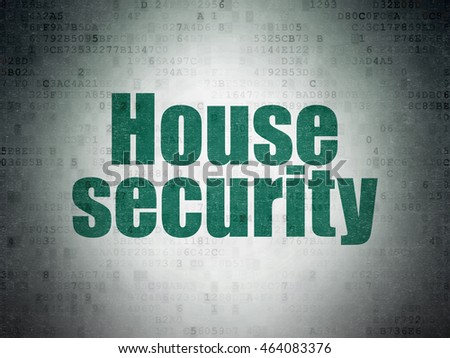 Security concept: Painted green word House Security on Digital Data Paper background