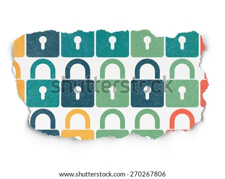Security concept: Painted multicolor Closed Padlock icons on Torn Paper background, 3d render - stock photo