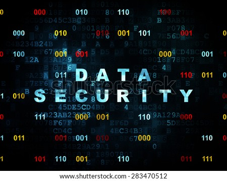 Security concept: Pixelated blue text Data Security on Digital wall background with Binary Code, 3d render - stock photo