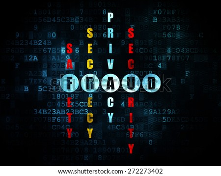 Security concept: Pixelated blue word Fraud in solving Crossword Puzzle on Digital background, 3d render - stock photo