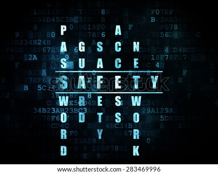 Security concept: Pixelated blue word Safety in solving Crossword Puzzle on Digital background, 3d render