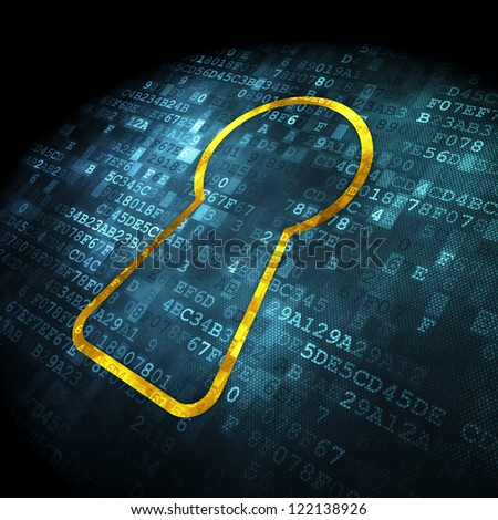 Security concept: pixelated keyhole icon on digital background, 3d render - stock photo