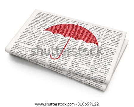 Security concept: Pixelated red Umbrella icon on Newspaper background