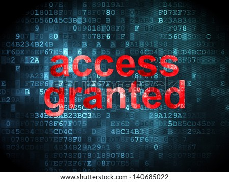 Security concept: pixelated words Access Granted on digital background, 3d render - stock photo