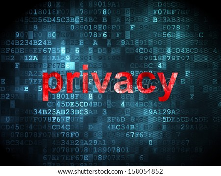 Security concept: pixelated words Privacy on digital background, 3d render - stock photo