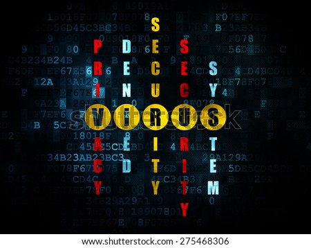 Security concept: Pixelated yellow word Virus in solving Crossword Puzzle on Digital background, 3d render - stock photo