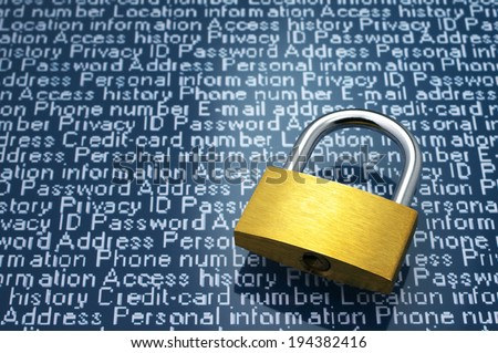 Security concept: Protection of personal information. Padlock and personal information with copyspace.  - stock photo