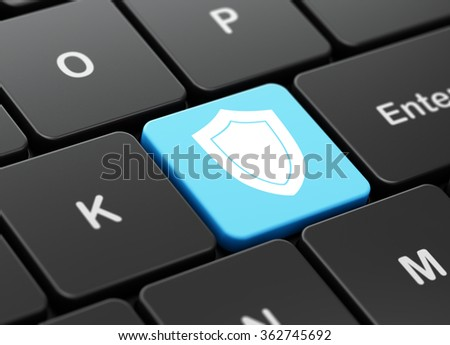 Security concept: Shield on computer keyboard background - stock photo