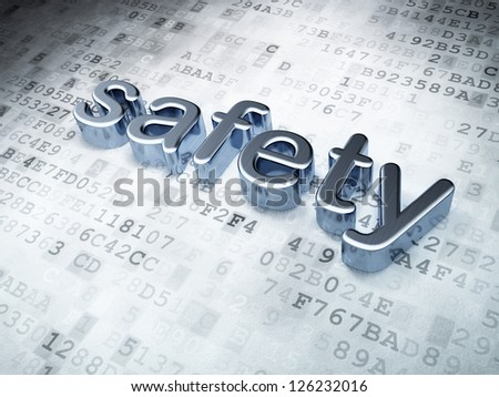 Security concept: Silver Safety on digital background, 3d render