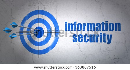 Security concept: target and Information Security on wall background - stock photo