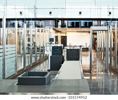 security control point at the airport - stock photo