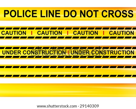 Security Cordons, Caution, Under Construction, Police and blank. - stock photo