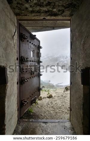 Security door of a bunker - Maginot Line, Alps, France - stock photo