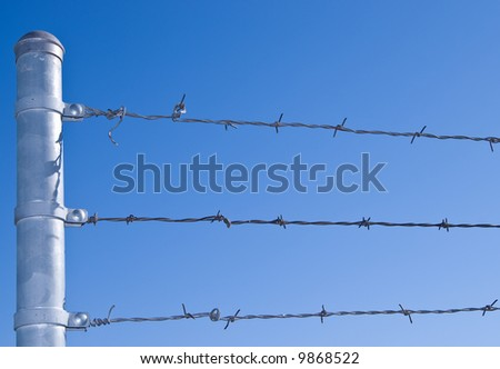 Security Fence with Barbed Wire Perimeter