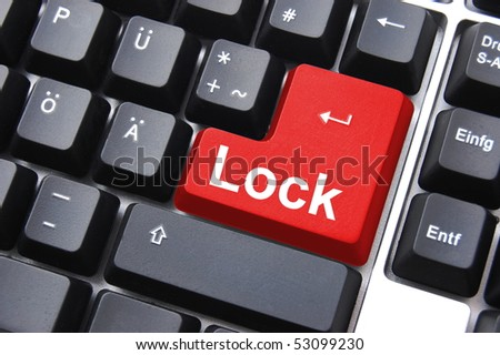 security for your computer data with lock button - stock photo
