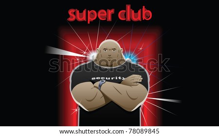 security guard stands in front of club, crossed his arms over his chest - stock photo