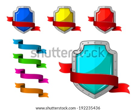 Security icons set with blazons and ribbons for internet design. Vector version also available in gallery - stock photo
