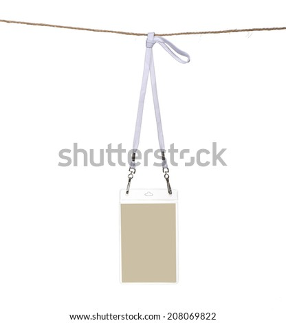 Security ID Pass hanging on a rope against white background - stock photo